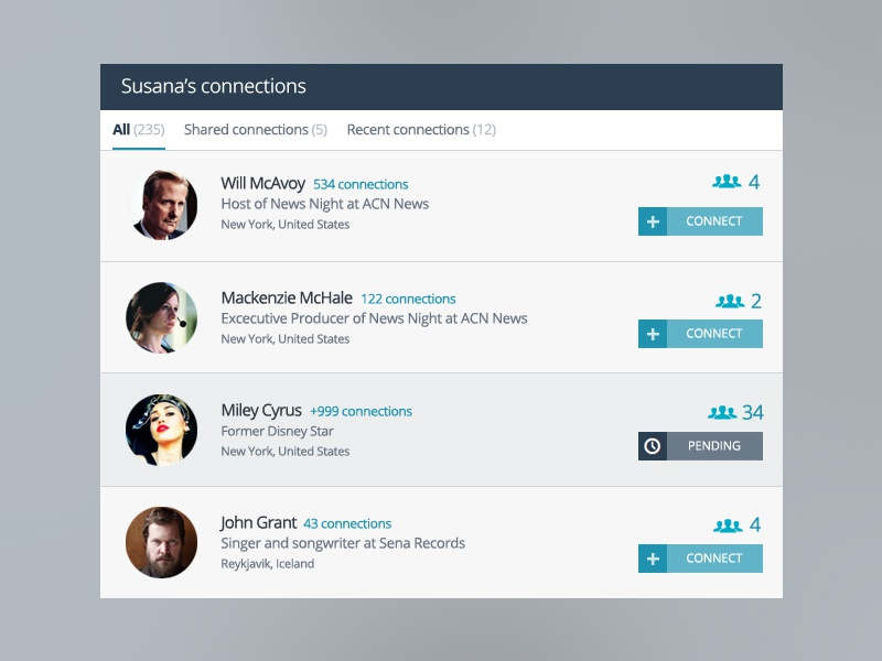 Network Connections network social ux ui web flat users profile list