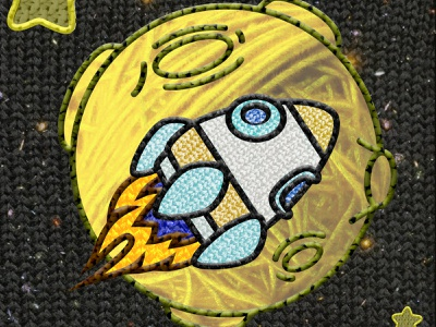 SpaceLogo Revisit yarn space ship spaceship space bezel masking layer masking logo design illustration layermasking