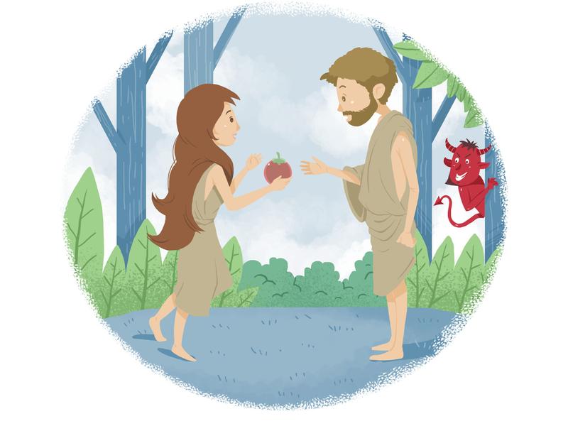 Eve & Adam illustration apple story kids children book illustration children phrophet event adam