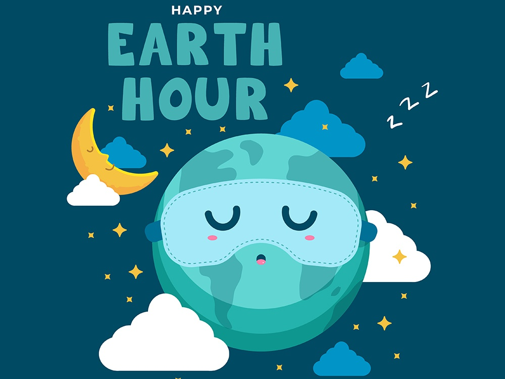 Earth Hour Illustration Concept eco friendly environment campaign concept illustration cartoon day earth hour earth