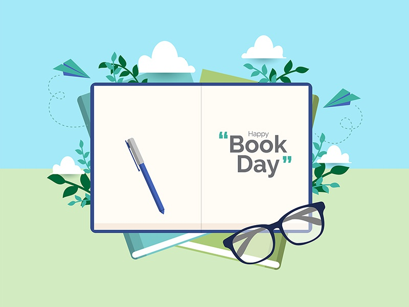 Happy Book Day Illustration Concept library concept bookstore education reading literacy day book vector designs flat