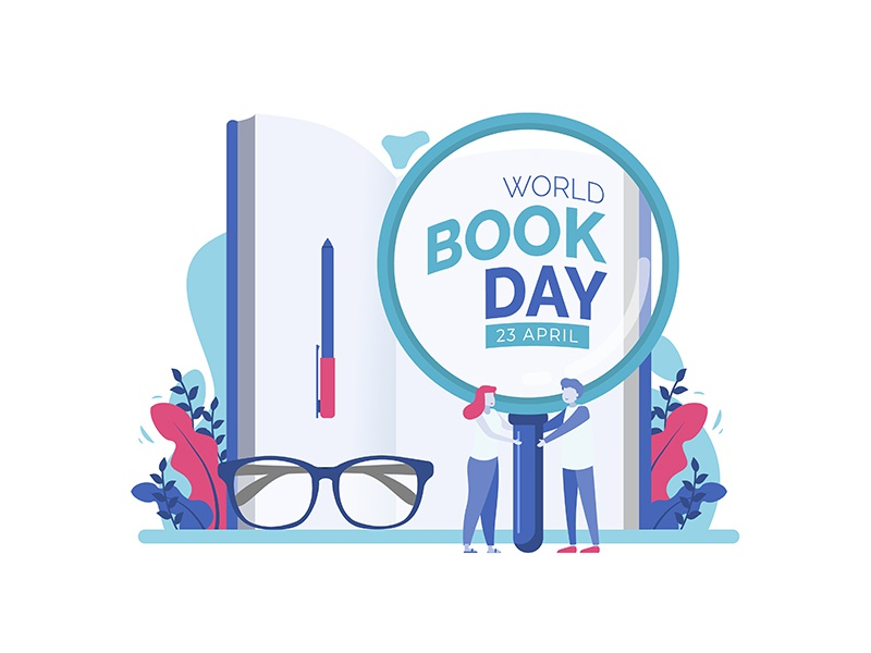 World Book Day Illustration Concept concept vector designs flat people tiny awareness day book reading literacy education