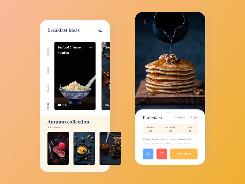 Recipes app illustrator pancake blog autumn collection app food