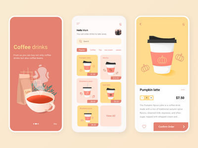 Coffee shop mobile ux ui disign colorful coffee cafe app coffee bar coffee app design app