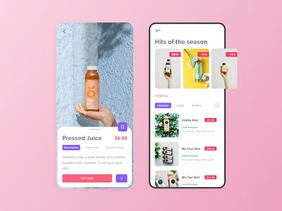 Fresh juice subscription app collection ios design juice mobile illustrator app