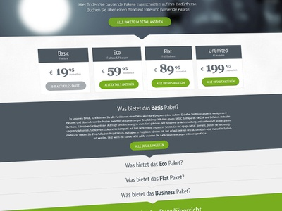 Website - Packages design ui interface ux usability creative webdesign screendesign price green grey list