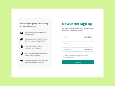 Form UI newsletter design newsletter web design form ui ux 100daysofui productdesign dailyui ui design