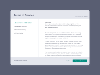 Terms of Service UI web design terms and conditions terms of service ux 100daysofui productdesign ui dailyui design