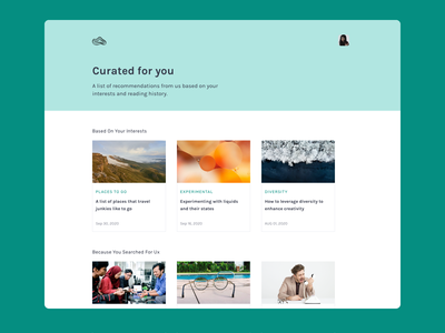 Curated for you curated for you web design ux 100daysofui productdesign dailyui ui design