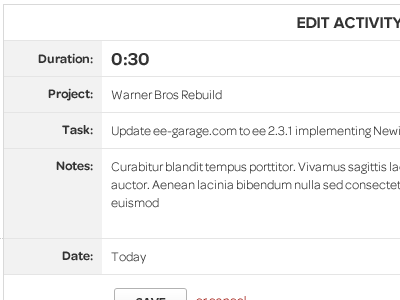 Edit Activity ui webapp