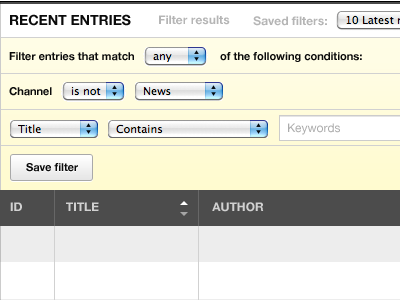 Filtering recent entries ui eecms tables