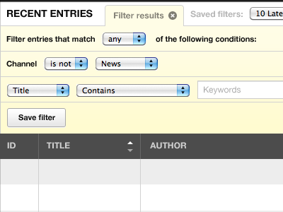 Filtering recent entries w/ close tab ui eecms tables