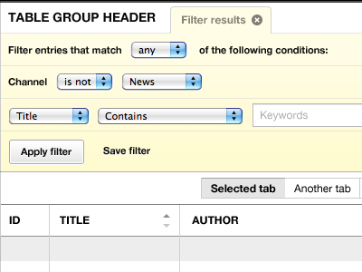 Filtering recent entries w/ close tab v3 ui eecms tables