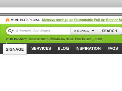 Website header, search & nav web search