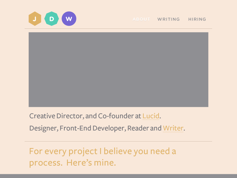 Personal Home Page personal branding personal lucid creative director developer designer jordan whalen jdw personal site personal home page home page