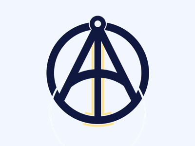 Octant gold navy ocean navigation sea sextant octact logo