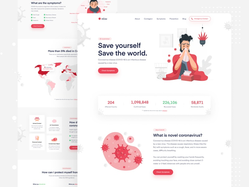 nCovid - Coronavirus Awareness Landing Page prevention healthcare corona coronavirus covid-19 awareness landing minimal creative ux ui colorful website landing page illustration