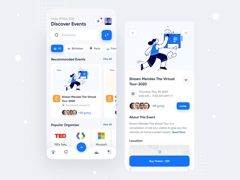 Event Discovery app creative colorful ux ui sbshahria mobile apps mobile app minimal clean ui ios app illustraion card event app app design events event