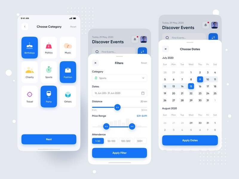 Prom | Event Discovery App events design date icon ios creative typography mobile app design mobile app card calendar filter minimal ui ux colorful illustration event app event