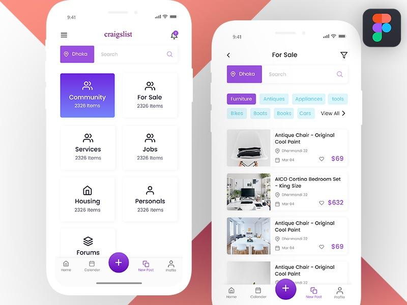 Craigslist App Concept shop ecommerce color ios app ux ui iphone x craigslist classified freebie figma