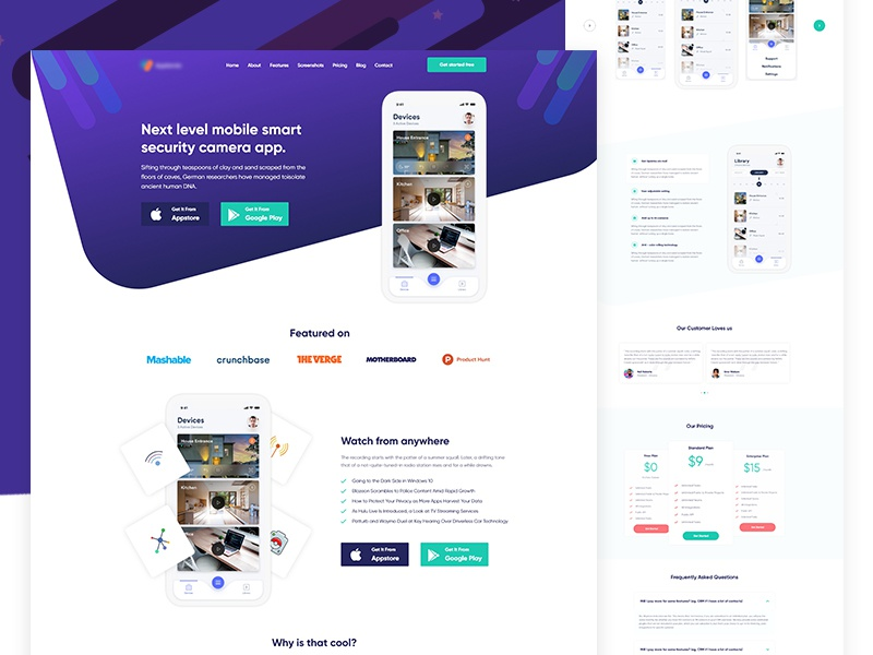Home Security App Landing Page ux ui flat web landing page ios illustration gradient dashboard app security home
