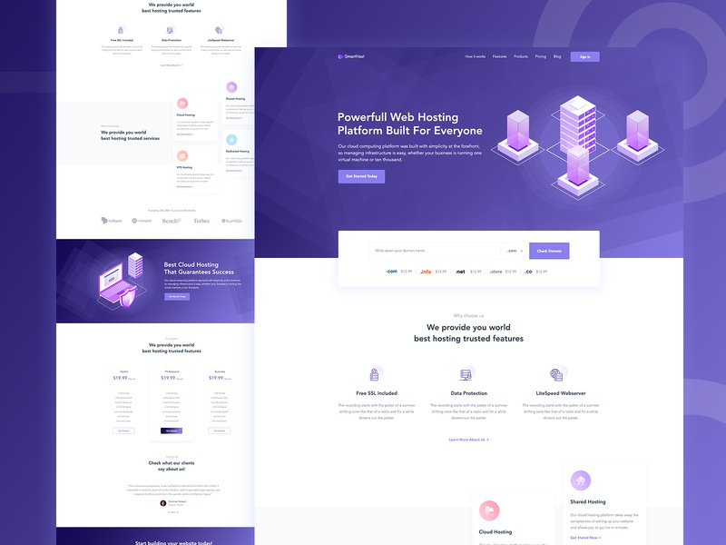 Hosting Landing page  Concept creative product web agency server domain hosting typography flat colorful illustration ux landing ui website gradient hosting landing page vps cloud