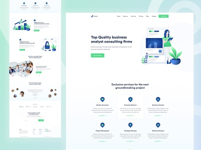 Business Consulting Firms Website typography website flat colorful ux ui gradient trending mordern minimal startup landing page landing analyst illustration creative corporate consulting agency business