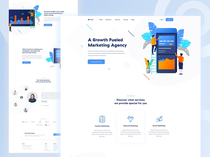 Marketing Agency Landing Page vector colorful website ux ui shapes seo light trend startup minimal marketing landing page landing illustration creative coporate business agency advertising