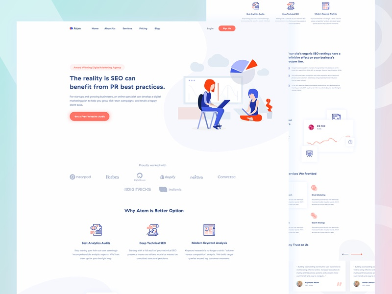 SEO Agency Landing page light shape website ux ui landing page landing trend minimal startup illustration seo search engine optimization marketing creative corporate business agency advertising