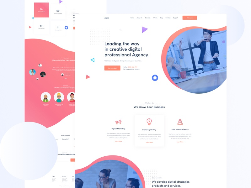 Creative Agency Landing Page. website design gradient trend startup modern minimal marketing landing page landing illustration creative corporate business agency