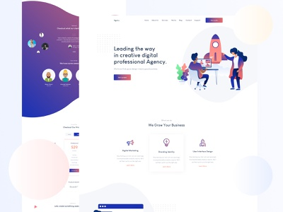 Creative Agency Landing Page V2 typography vector agency business corporate marketing startup creative flat website colorful illustration landing page landing gradient