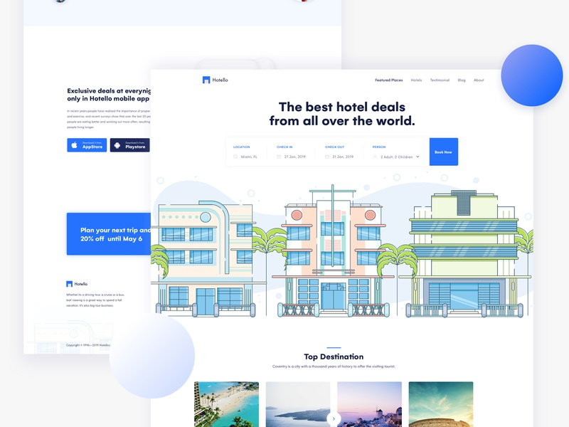 Hotel Booking Landing Page agency gradient design landing ux ui trends website design typography minimal website rent creative illustration colorful real estate landing page booking book hotel booking