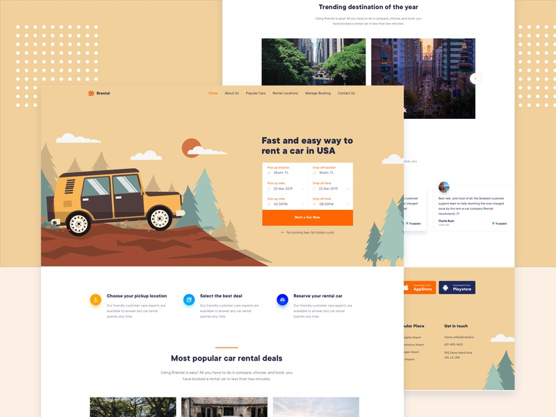 Car Rental Landing Page startup creative product colorful agency flat typography minimal vector website ux ui gradient landing page landing auto rent car illustration car rental car booking
