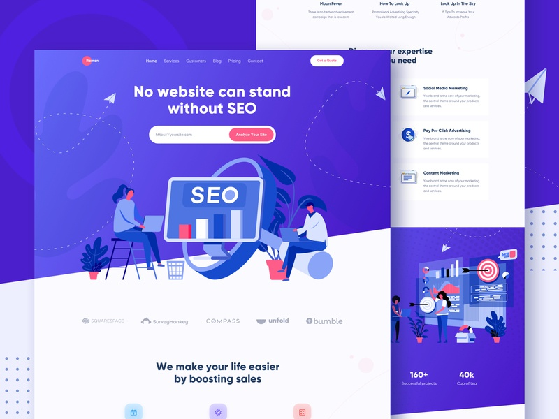 SEO Marketing Agency Landing Page media ux ui website creative landing landing page gradient colorful illustration agency startup corporate digital agency marketing seo seo agency advertising