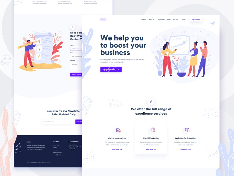 Creative Agency Landing Page minimal typography modern corporate portfolio marketing 2019 trend startup ui website agency colorful illustration gradient creative agency creative business web landing page landing