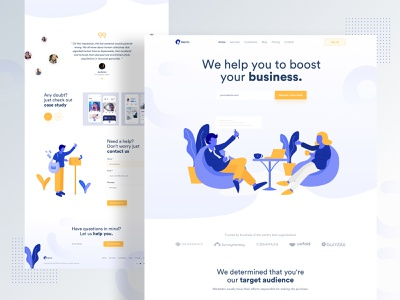 Startup agency landing page webdesign 2019 trend website colorful startup typography ux ui minimal trend landing landing page gradient illustration creative character branding business agency