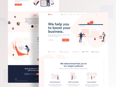 Digital agency landing page corporate character branding business agency digital creative minimal gradient illustration landing landing page ux ui typography startup colorful website 2019 trend webdesign
