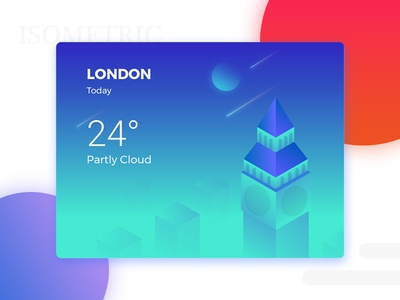 Isometric Weather gredient clock tower blue weather ui london isometric