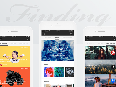 #3 Gamma-Finding Page ux ui white simple photography mobile minimalism clean ios
