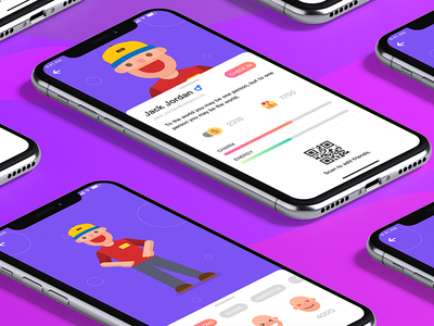 Social personal interface ux ui customize face qr code cute personal iphone x