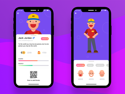 Social personal interface-2 ux ui customize face qr code cute personal iphone x