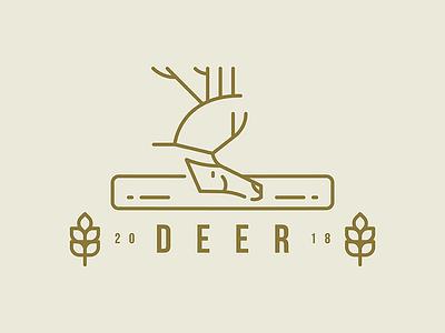 DEER label animal cute deer flat trees illustration logo