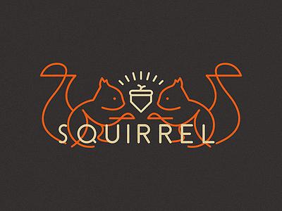 Squirrel logo label illustration flat squirrel cute animal