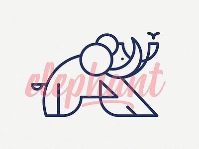 Elephant logo label illustration flat elephant cute animal