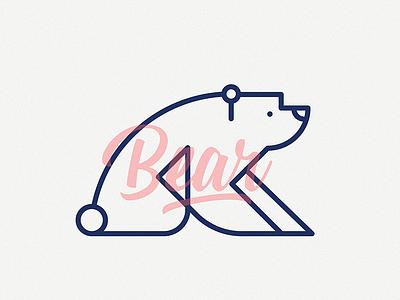 Bear logo label illustration flat bear cute animal
