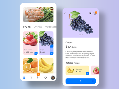 G-Shop Grocery App UI Kit ios customizable vector illustration onboarding support profile faves search delivery checkout categories sign up login app e-commerce ecommerce shopping shop grocery