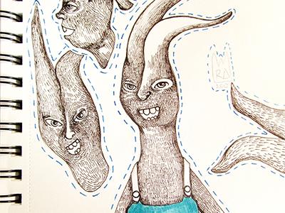 Rabbbits inktober art print sketchbook drawing illustration