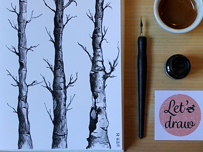 Birch Tree Drawing pen and ink drawing sumi ink drawing lets draw drawing fine art
