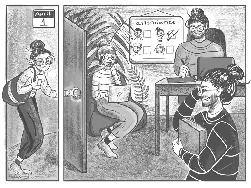 #19 Studio life: April fools colleagues the office prank dress up black and white workspace april comic funny illustration character design team creative studio illustration april fools