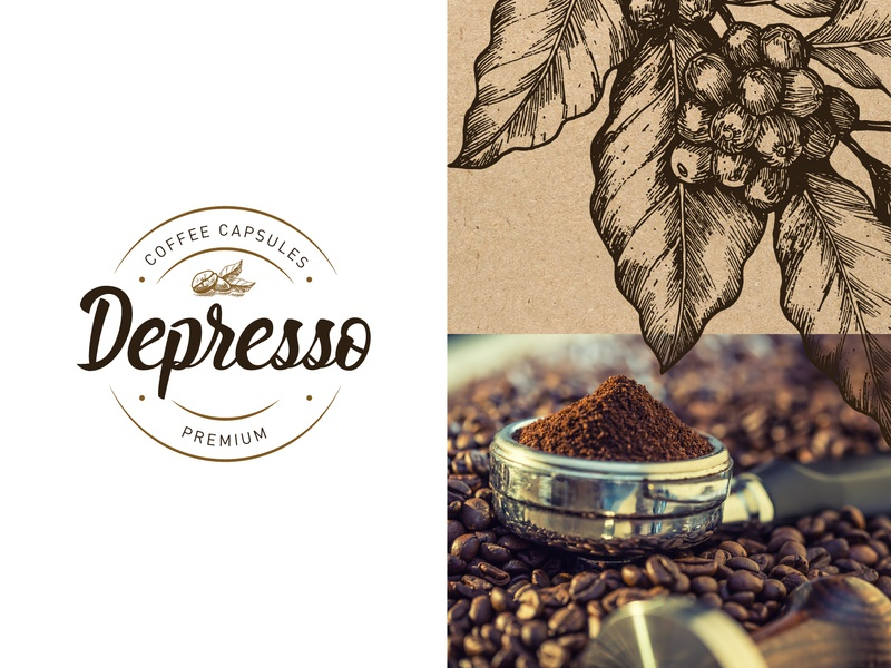 Depresso Coffee capsules design logo dark brown beans coffee